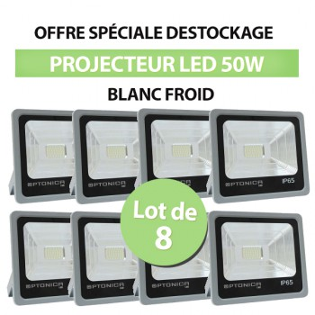 Lot de 8 Projecteurs Led 50W Ultrafin SMD PREMIUM Blanc Froid - IP65