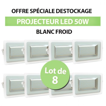 Lot de 8 Projecteurs Led 50W Ultra-fin SMD I-DESIGN 2 Blanc Froid - IP65
