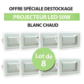 Lot de 8 Projecteurs Led 50W Ultra-fin SMD I-DESIGN 2 Blanc Chaud - IP65