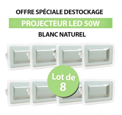 Lot de 8 Projecteurs Led 50W Ultra-fin SMD I-DESIGN 2 Blanc Naturel - IP65