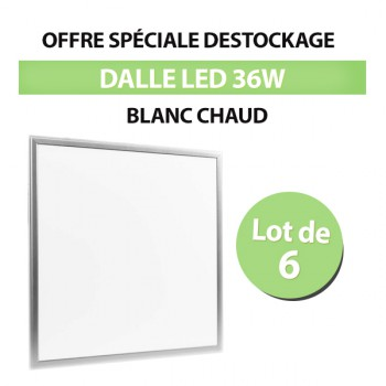 Lot de 6 Dalles LED 60*60 Carré Extra-plat 36W Bland Chaud