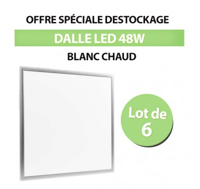 Lot de 6 Dalles led 60*60 Carré 48w Blanc Chaud