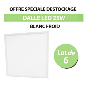Lot de 6 Dalles LED 60*60 Carré 25W - Blanc Froid