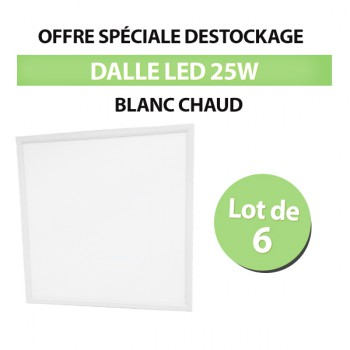 Lot de 6 Dalles LED 60*60 Carré 25W - Blanc Chaud