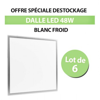 Lot de 6 Dalles LED Carré 62x62 48W Blanc Froid