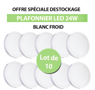 Lot de 10 Plafonniers Led 24W en surface Rond Blanc froid