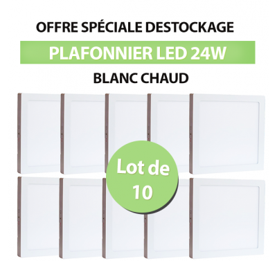 Lot de 10 Plafonniers Led 24W en surface Carré Blanc Chaud