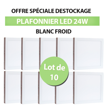 Lot de 10 Plafonniers Led 24W en surface Carré Blanc Froid