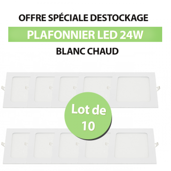 Lot de 10 Plafonniers Led Carré Extra-plat 24W - Blanc Chaud