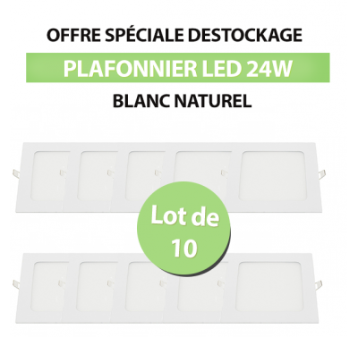 Lot de 10 Plafonniers Led Carré Extra-plat 24W - Blanc Naturel