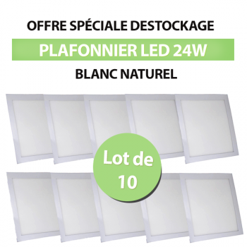 Lot de 10 Plafonniers Led 24W Carré Blanc Naturel