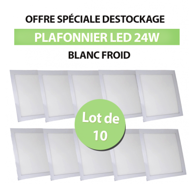 Lot de 10 Plafonniers Led 24W Carré Blanc Froid