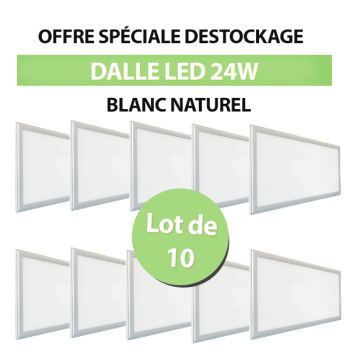 Lot de 10 Dalles LED Carré Extra-plat 24W Blanc Naturel
