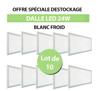 Lot de 10 Dalles LED Carré Extra-plat 24W Blanc Froid