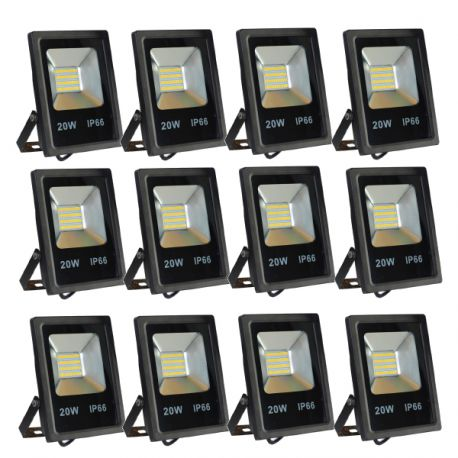 Lot de 12 Projecteurs Led 20W Ultra-fin SMD Blanc Naturel - IP66
