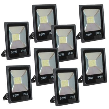 Lot de 8 Projecteurs Led 50W Ultra-fin SMD Blanc Froid - IP66