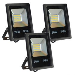 Lot de 3 Projecteurs Led 20W Ultra-fin SMD Blanc Naturel - IP66