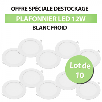 Lot de 10 Plafonniers Led Rond Extra-plat 12W - Blanc Froid