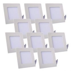 Lot de 10 Plafonniers LED Carré Extra-plat 6W Blanc Froid