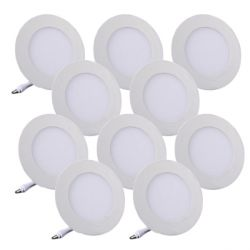 Lot de 10 Plafonniers LED Rond Extra-plat 6W Blanc Froid
