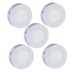Lot de 5 Plafonniers Led 7W en surface Rond Blanc Froid
