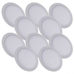 Lot de 10 Plafonniers Led 24W Rond Blanc Froid