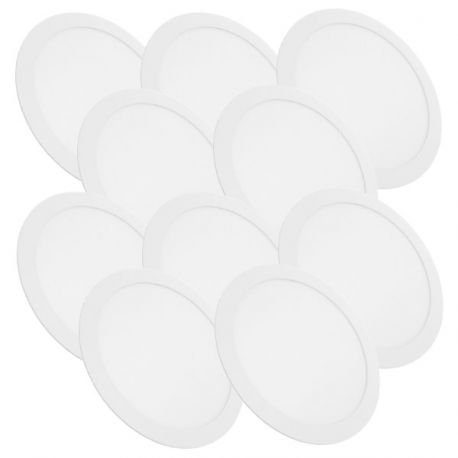 Lot de 10 Plafonniers Led Rond Extra-plat 24W - Blanc Froid