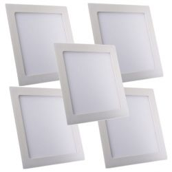 Lot de 5 Plafonniers Led 18W Carré Blanc froid