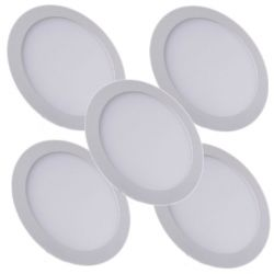 Lot de 5 Plafonniers Led 18W Rond Blanc naturel