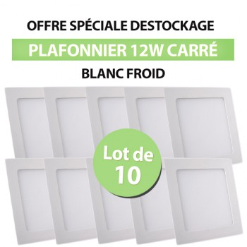 Lot de 10 Plafonniers LED Carré Extra-plat 12W Blanc Froid