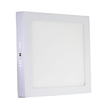 Plafonnier Led 18W en surface Carré Blanc Chaud