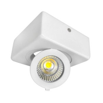 Plafonnier Led 12W en surface Carré, ajustable, Blanc froid