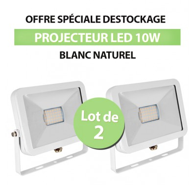 Lot de 2 Projecteurs Led 10W Ultra-fin SMD I-DESIGN Blanc Naturel - IP65