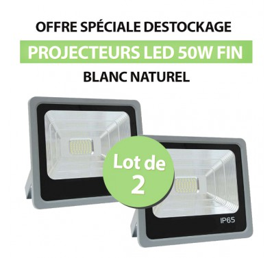 Lot de 2 Projecteurs Led 50W Ultrafin SMD PREMIUM Blanc Naturel - IP65