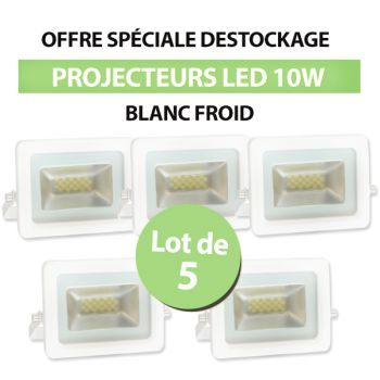 Lot de 5 Projecteurs Led 10W Ultra-fin SMD I-DESIGN 2 Blanc Froid - IP65