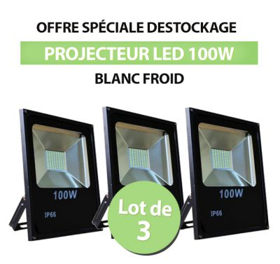 Lot de 3 Projecteurs Led 100W Ultra-fin SMD Blanc Froid - IP66