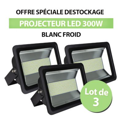 Lot de 3 Projecteurs Led 300W Ultra-fin SMD Blanc Froid - IP66