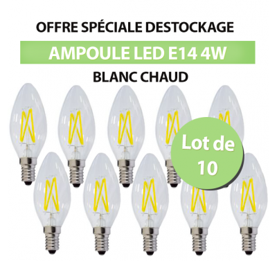 Lot de 10 Ampoules Flamme Led C35 4W E14 Blanc Chaud